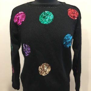 Vintage Black Angora Multicolor Sequin Sweater